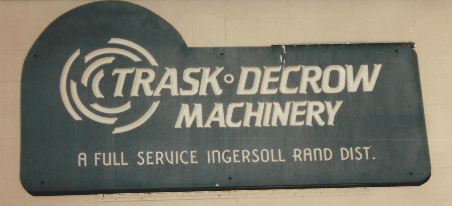 Trask-Decrow Machinery Sign made of Soapstone